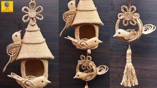 DIY Hanging Showpiece with Jute and Plastic bottle | Home Decoration using Jute | Jute Craft Idea