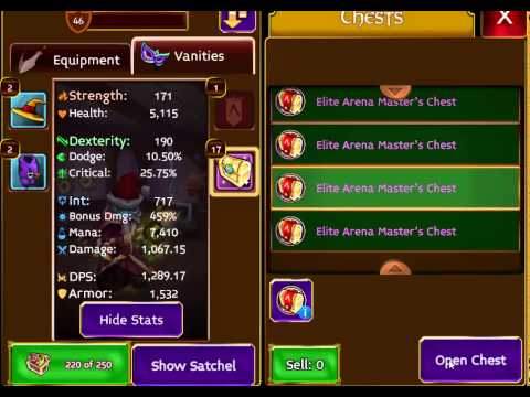 Arcane Legends - #OMG Opening 50 Elite Arena Master's Chests (with audio commentary)
