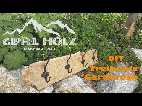 Treibholz Garderobe selber bauen - DIY Holz Wandhaken Ikea Hack