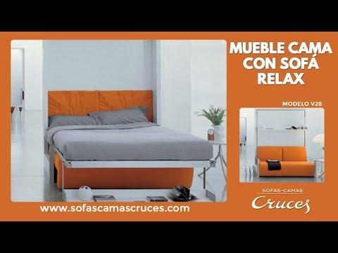 Muebles cama abatible con sof relax impresionante for Cama escondida en mueble