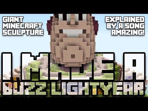 Giant Minecraft Buzz Lightyear Sculpture with Song