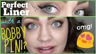 HACK OR HOAX | Perfect Winged Liner With A BOBBY PIN!?