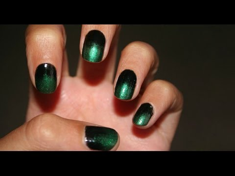 Black & Green Gradient Manicure by Seresina_NailArt