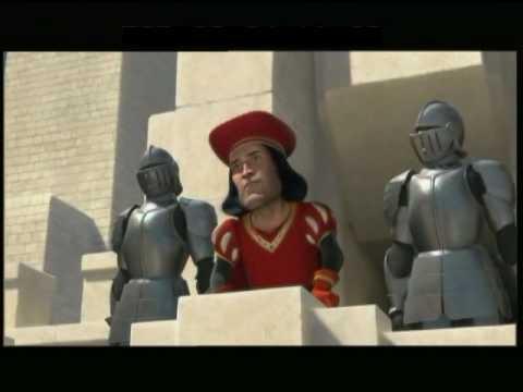 Shrek e Burro chegan ao Reino de Duloc na peli dobrada ao galego