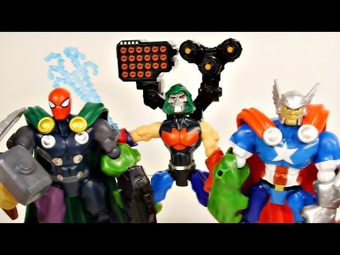 Superhero Mashers Spider-Man Doctor Doom Thor and Hawkeye Marvel Avengers Toys Review