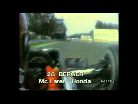 25 min Berger on board McLaren chasing Senna Monza 1990
