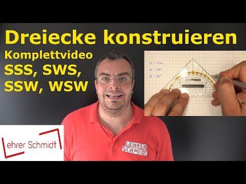 SSS - SWS - WSW - SSW -Komplettvideo- Dreiecke konstruieren   Geometrie   Lehrerschmidt