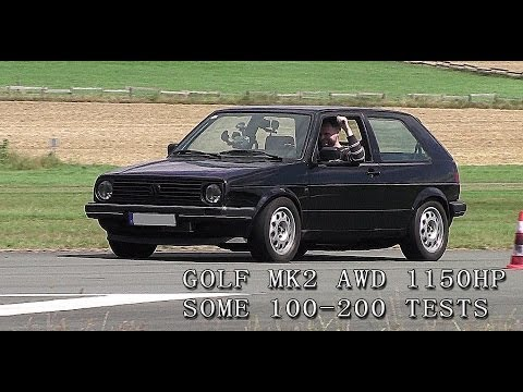 VW Golf Mk2 1150HP some 100-200 tests from Boba-Motoring