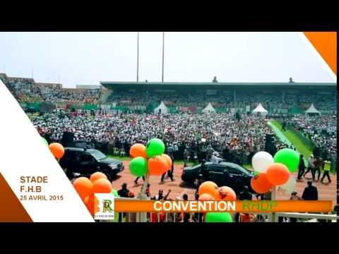 CONVENTION D'INVESTITURE DU 25 AVRIL 2015: L'entrée du Président Alassane Ouattara au stade.
