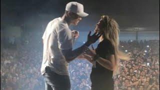 Lore e Léo dançando juntos no palco #Faz2L