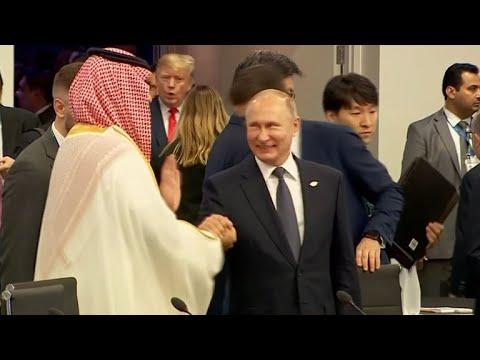 Putin and Saudi crown prince share friendly greeting