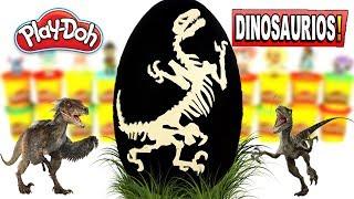 Huevo Sorpresa Gigante de Esqueleto de DINOSAURIO VELOCIRAPTOR Plastilina Play doh Español