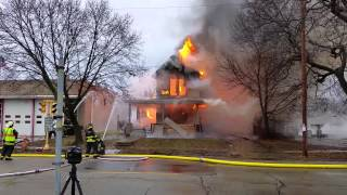 Janesville fire dept. Training. Burning houses.