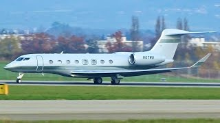 [FullHD] Private Gulfstream G650ER takeoff at Geneva/GVA/LSGG
