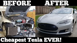 We Rebuilt a Wrecked Salvage Auction Tesla at our Home Garage in 48 Hours