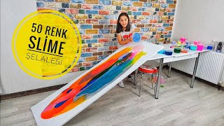 50 Farklı Renkle Slime Şelalesi! 50 Different Colors Slime Waterfall