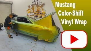 Mustang Wrapped in Avery Fresh Spring colorshift vinyl by Star Car Wraps