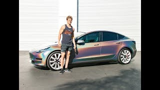 UFC Fighter Sage Northcutt goes crazy when he sees his new Tesla!!