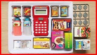 Đồ chơi trẻ em MÁY TÍNH TIÊN SIÊU THỊ và nước ngọt, bánh kẹo, tiền để chơi đồ hàng (Chim Xinh)