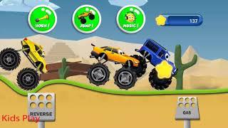 Bé đua xe địa hình vui nhộn |  Monster trucks kids game  - Kids play