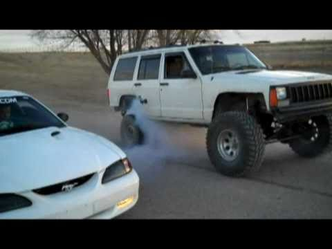 Jeep XJ and mustang GT burnout! (5 camera angles)