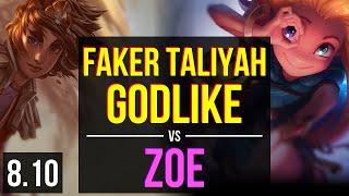 SKT T1 Faker - TALIYAH vs ZOE (MID) ~ Godlike, KDA 10/3/12 ~ Korea Challenger ~ Patch 8.10