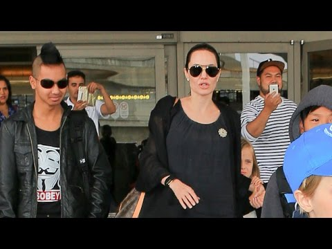 Angelina Jolie Brad Pitt And Family Arrive at LAX, Part 1