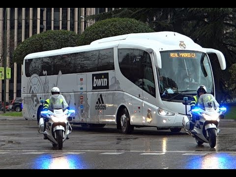 Motorcade (vip escort/ Escolta) Bus Real Madrid in the Santiago Bernabeu.