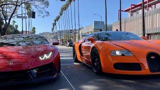 #RDBLA Orange Bugatti and Widebody Lambo LA Streets!