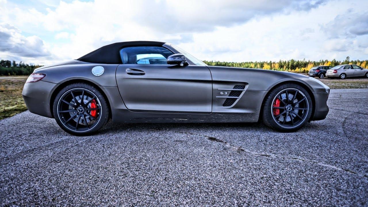 Matte Mercedes Sls Amg Roadster Startup Acceleration