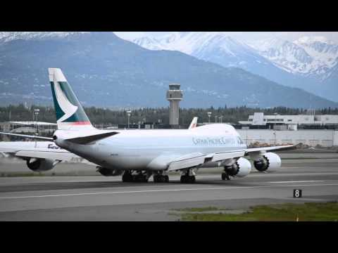 Cathay Pacific Cargo Boeing 747-8F Take Off from Anchorage Int'l