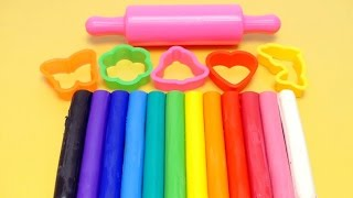 Learn Colors with RAINBOW Dough Clay - Molds & Shapes