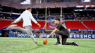 MY FIRST TIME KICKING IN AN NFL STADIUM! (LOCKER ROOM TOUR)