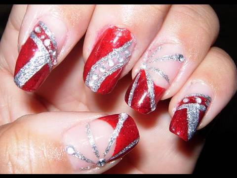 Red with silver glitter nails youtube