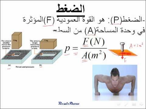 فيزياء::: ضغط المائع درس للصف العاشر