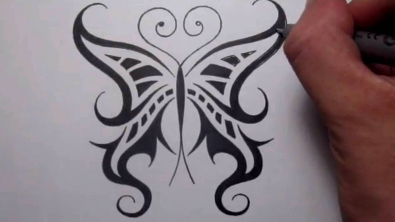 drawing a cool tribal butterfly tattoo design youtube. Black Bedroom Furniture Sets. Home Design Ideas