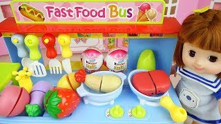 Baby Doli and food car toy with surprise eggs baby doll play