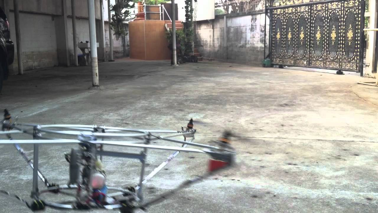 Pentacopter with Gasoline engine. - YouTube