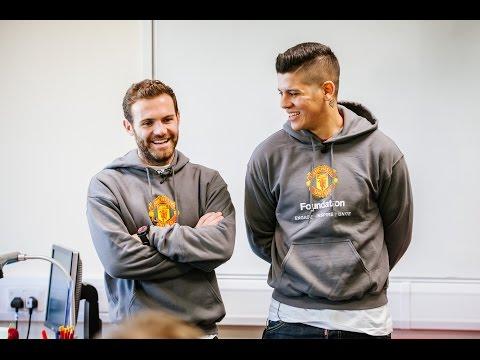 Juan Mata and Marcos Rojo visit The Swinton High School - #SchoolsUnited