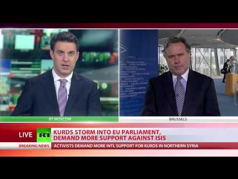 Kurds storm EU parliament, stage rallies across Europe demanding crackdown on ISIS