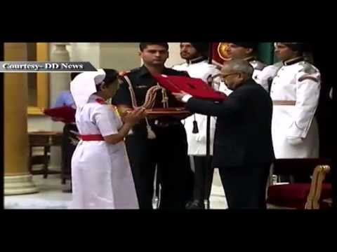 President Pranab Mukherjee presents National Florence Nightingale Awards