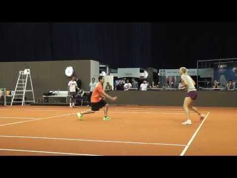 Maria Sharapova warming up + training session @ Porsche Tennis Grand Prix 2013