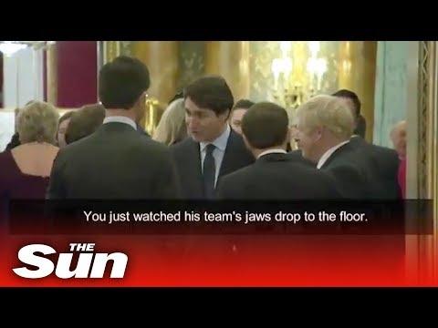 Emmanuel Macron and Justin Trudeau 39caught gossiping about Donald Trumpв to Boris Johnson