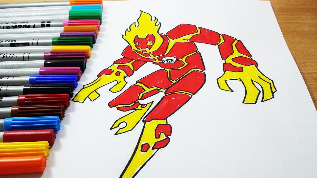 Coloring Pages Ben 10 Fourarms Diamondhead Heat Blast