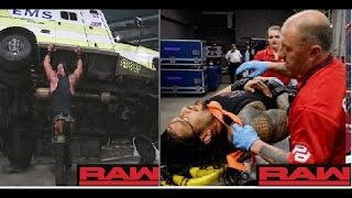 Braun strowman attack Roman rings WW WWE Monday Night Raw 10th April 2017 highlights