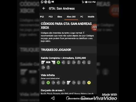 Codigos (GTA San Andreas para xbox 360)