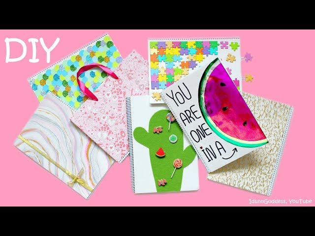 7 DIY Notebooks в How To Make Mermaid, Watermelon, Marble, Cactus And More Notebooks