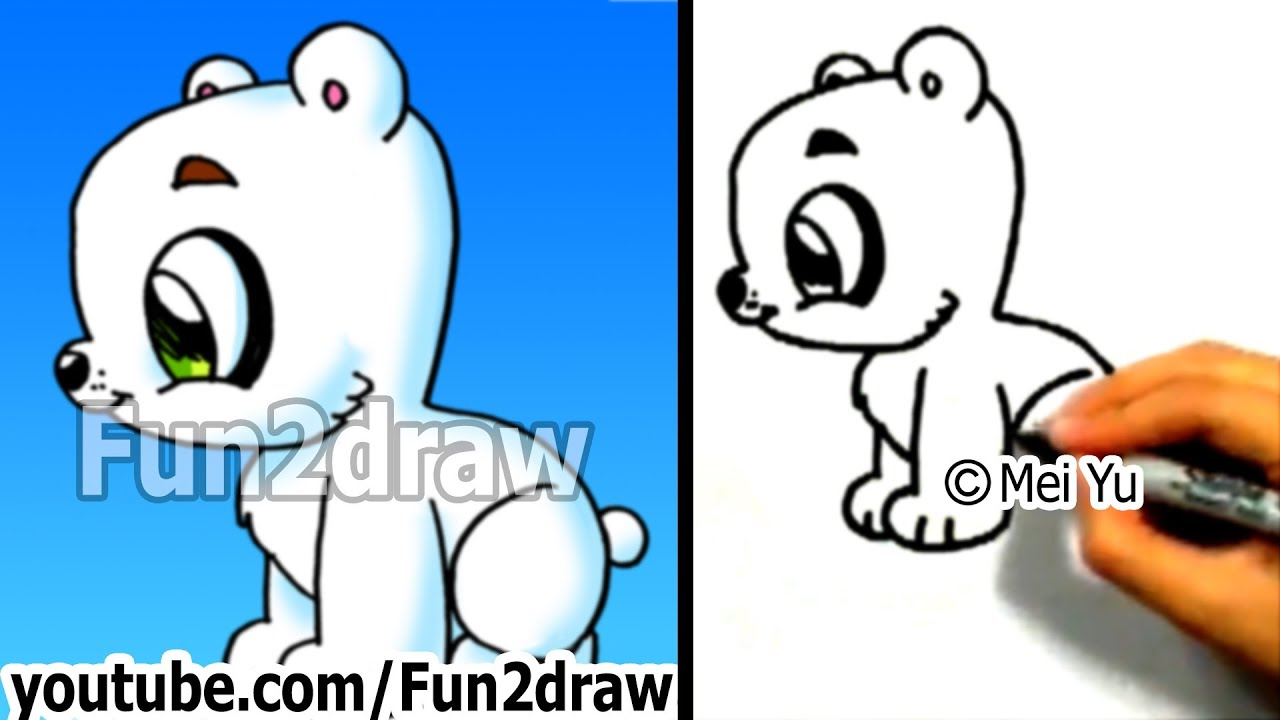 How to draw a cartoon polar bear how to draw easy things for What are fun things to draw