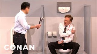 Steven Ho Shows Conan To Fend Off A Mens Room - CONAN on TBS