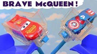 Lightning McQueen brave Cars races with Hot Wheels Superhero cars TT4U